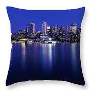 Vancouver Skyline At Night, British Throw Pillow