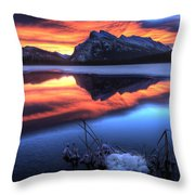 Vermillion Lakes Mount Rundle Throw Pillow