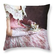 Victorian Woman Taking Tea Throw Pillow
