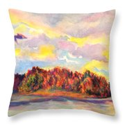 View Of Goat Island From Clackamette Park Throw Pillow
