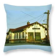 Villisca Train Depot Throw Pillow