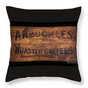 Vintage Arbuckles Roasted Coffee Sign Throw Pillow