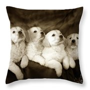 Vintage Festive Puppies Throw Pillow
