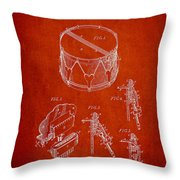 Vintage Snare Drum Patent Drawing From 1889 - Red Throw Pillow
