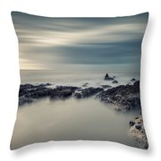 Vintage Style Cross Processed Seascape Long Exposure Throw Pillow