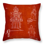 Vintage Toy Robot Patent Drawing From 1955 Throw Pillow