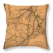 Vintage Train Ad 1887 Throw Pillow
