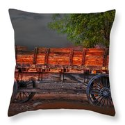 Wagons East Throw Pillow by Gunter Nezhoda