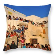Waiting For The Sunset In Oia Town Throw Pillow