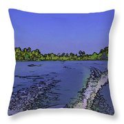 Wake From The Wash Of An Outboard Motor Throw Pillow