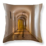 Walking In A Tunnel Throw Pillow