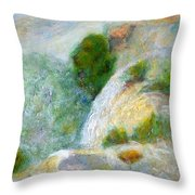 Waterfall In The Mist Throw Pillow