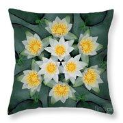 Waterlily Mandala Throw Pillow