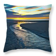 Wells Beach Maine Sunrise Throw Pillow