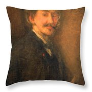 Whistler's Brown And Gold Self Portrait Throw Pillow