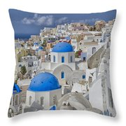 White Buildings With Steep Slope Throw Pillow
