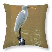 Magnolia White Heron Throw Pillow
