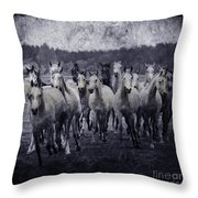 White Horses  Throw Pillow