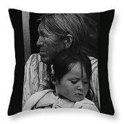 White Mountain Apache Elder And Granddaughter Rodeo White River Arizona 1970 Throw Pillow