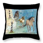 Wild Mustang Horses Outer Banks Lighthouses Nautical Chart Map Art Throw Pillow