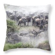 Wildebeest Migration 1 Throw Pillow