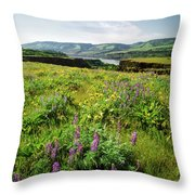 Wildflowers In A Field, Columbia River Throw Pillow