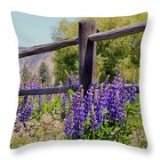 Wildflowers On The Fence Throw Pillow