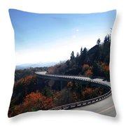 Winding Curve At Blue Ridge Parkway Throw Pillow
