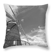 Windmill In The Sky In Black And White Throw Pillow