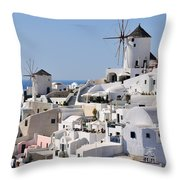 Windmills And White Houses In Oia Throw Pillow