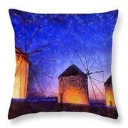 Windmills In Mykonos Island Throw Pillow