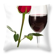 Wine With Red Rose Throw Pillow