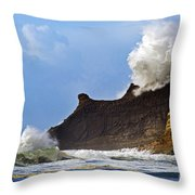 Winter Storm At Cape Kiwanda - Oregon Throw Pillow