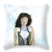 Woman Floats Underwater  Throw Pillow