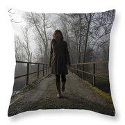 Woman Walking On A Bridge Throw Pillow