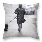 Woman Walking On The Street Throw Pillow