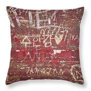Wood Graffiti Throw Pillow