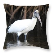 Wood Stork In The Swamp Throw Pillow