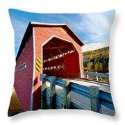Wooden Covered Bridge  Throw Pillow