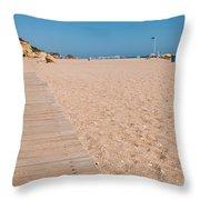 Wooden Walkway On Beach Throw Pillow
