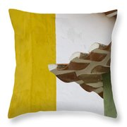 Yellow And Green Lines To The Roofs Throw Pillow