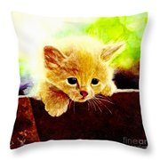 Yellow Kitten Throw Pillow