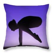 Yoga Crane Pose Throw Pillow