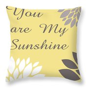You Are My Sunshine Peony Flowers Throw Pillow