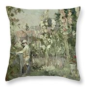 Young Boy In The Hollyhocks Throw Pillow