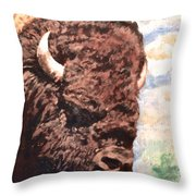 Young Bull At Yellowstone Throw Pillow