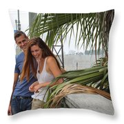 Young Couple Palm Tree Throw Pillow