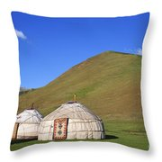 Yurts In The Tash Rabat Valley Of Kyrgyzstan  Throw Pillow