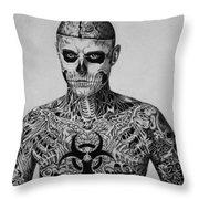 Zombie Boy Rick Genest Throw Pillow by Carlos Velasquez Art