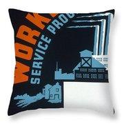 New Deal Wpa Poster Throw Pillow